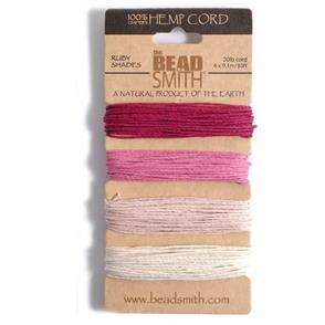 The Beadsmith Hemp Cord - Ruby Shades
