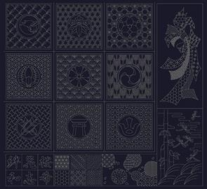 QH Textiles  Wagara Sashiko Panel Selection Navy
