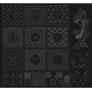 QH Textiles Wagara Sashiko Panel - Sashiko Selection Black 100cm x 110cm