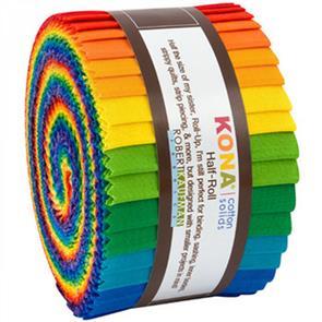 "Robert Kaufman  Solid Half-Roll - Bright Rainbow Palette 2.5"" 24pce"