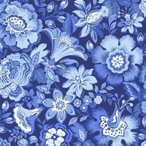 Blank Quilting  Blue Rhapsody - Floral Allover Blue