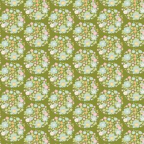 Tilda Tilda Fabric - Bumble Bee Collection - Flower Nest Green