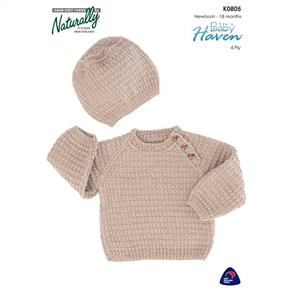 Naturally  K0805 Raglan Sweater and hat