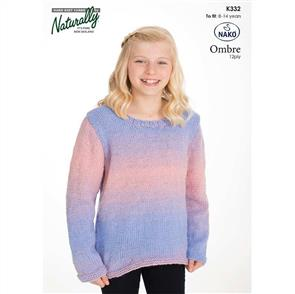 Naturally K332 Sweater with Shaped Lower Edge