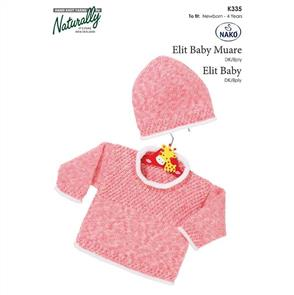 Naturally K335 Rolled Edges Sweater and Hat