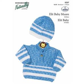 Naturally K337 Tab Front Sweater and Hat