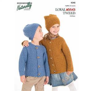 Naturally K345 Garter Stitch Jacket & Hat