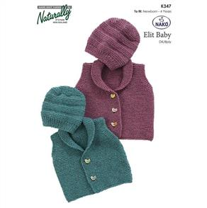 Naturally  347 - Garter Stitch Vest & Hat