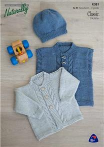 Naturally K381 - Cabled Front Cardigan, Vest & Hat