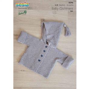 Naturally K395 - Garter Stitch Jacket with Hood - Knitting Pattern