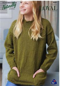 Naturally K401 - Sweater with Pockets - Knitting Pattern