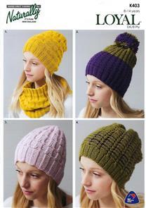Naturally K403 - Cowl & Hat - Knitting Pattern