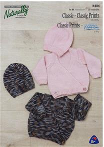 Naturally  K404 - Crossover Cardigan & Hat - Knitting Pattern
