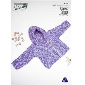Naturally  K719 Garter Stitch Jacket with Hood