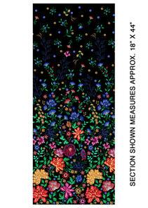 Benartex Embroidered Elegance - Border Black