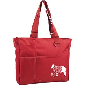 "Knit Happy  Unwound Sheep Bright Bag 15""X13""X4"" - Red"