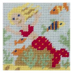 Jolly Red Needlepoint Kit - Mermaid