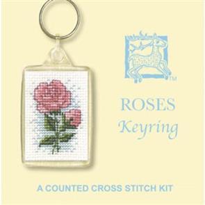 Textile Heritage  Cross Stitch Kit Key Ring - Roses
