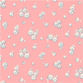 Liberty  Fabric - Tumbling Daisy Pink