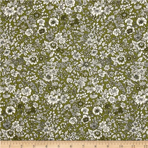Liberty  Fabric - Emily Silhouette Green