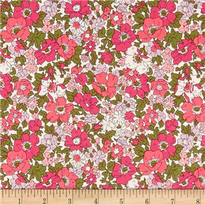 Liberty  Fabric - Cosmos Meadow Dark Pink
