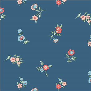 Liberty  Fabric - Little Vine Dark Blue