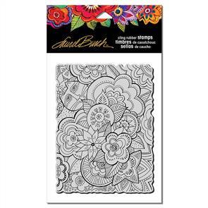 Laurel Burch Rubber Stamp - Carlotta's Garden - Cat