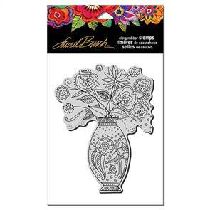 Laurel Burch Rubber Stamp - Floral Vase