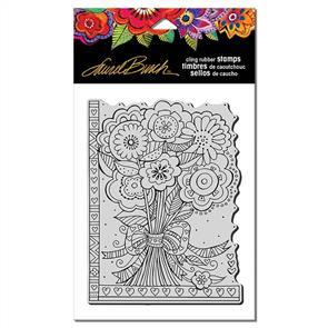 Laurel Burch Rubber Stamps - Flower Bouquet