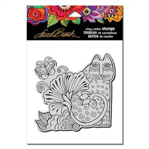 Laurel Burch  Rubber Stamp - Blossoming Feline