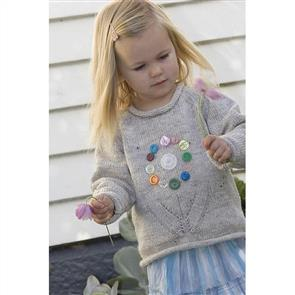Lisa F  Little Cupcakes LF07 Sweater with Antique Button Flower