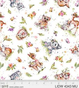 P & B Textiles  Little Darlings Woodland - Animal Toss White