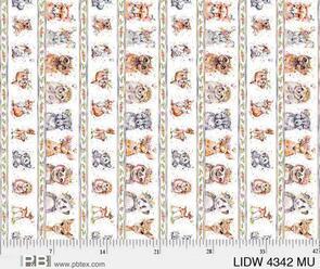 P & B Textiles  Little Darlings Woodland - Animal Stripe White