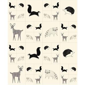 "Hoffman Fabric  Bramble - Critters Galore Cream/ Black Panel 34"" (88cm)"