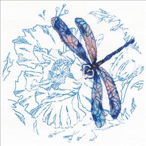 RTO  Stamped Cross Stitch Kit: Dance of Dragonflies (blue)