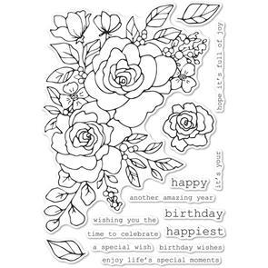 Memory Box Birthday Rose Corner Stamp Set