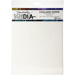 "Ranger Ink Dina Wakley Media Collage Tissue Paper 7.5""X10"" 20/Pkg - Plain"