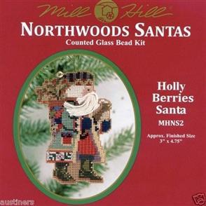 Mill Hill  Bead & Cross Stitch Kit: Holly Berries Santa