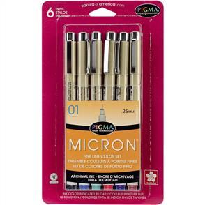 Pigma Micron Pens - 01 - 0.25mm 6/Pkg