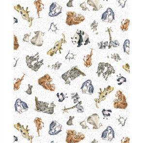 Maywood Studios Hanah Dale Wrendale Designs Fabric - Love Is - Zoology White