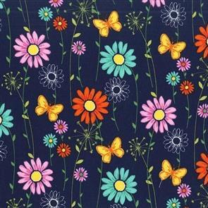 Michael Miller  Fabric - Doodle Daisy - 7508 Navy