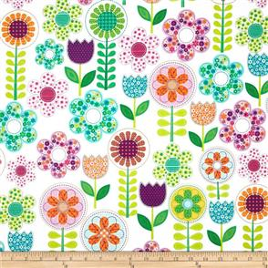 Michael Miller  Fabric - Small World Floral - 5894 White