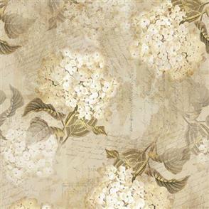 Hoffman Fabric  - Vintage Hydrangeas & Text - CREAM