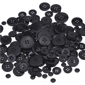 Trendy Trims  Bulk Buttons - Multisize Mix - Black