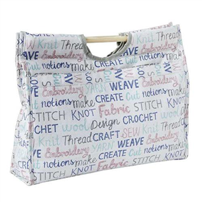 Trendy Trims  Knitting Bag Wooden Handle Words