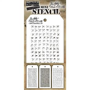 Stampers Anonymous Tim Holtz 3/pk Mini Layering Stencils - Set 33