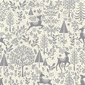 Makower  UK Fabrics - Scandi Scenic Grey
