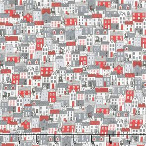 Makower  UK Fabrics - Scandi Houses Grey-Red