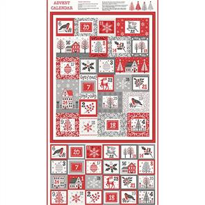 Makower  Fabrics - Scandi Christmas 2020 Advent Panel 0.6m/ 24""