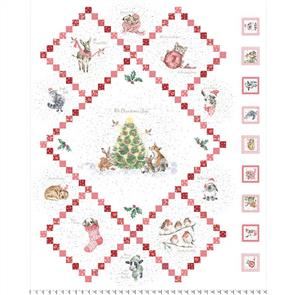 Maywood Studios  Wrendale Designs Fabric - Warm Wishes - Oh Christmas Tree Panel 36""